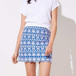 10 LOFT Embroidered Eyelet Stripe Blue Skirt